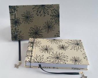 Fabric Notebook, small, A6, Choice of Colours, Sustainable Paper, Hand Bound, Landscape, Blank Book