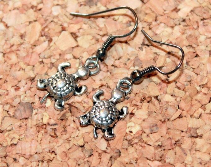Turtle Earrings, Nature Earrings, Dangle Earrings, Bell Art Designs 176