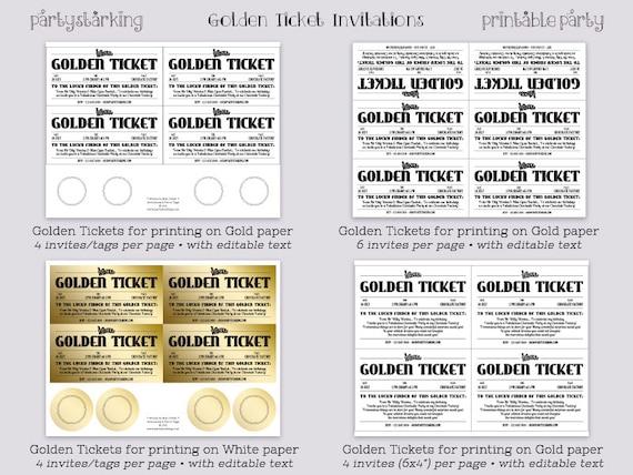 Golden Ticket invitations printable Willy Wonka invitations