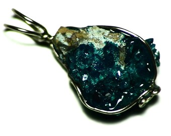 Dioptase Pendant, White Gold Dioptase Crystal Cluster Wire Wrap (12 ct) Green Dioptase Jewelry, Natural Dioptase Crystal in 14k Gold Wrap