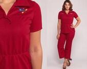 70s Outfit Women Bell Bottoms PANTS + TOP 70s Jumpsuit Set Boho Shirt Two Piece Bohemian Mod Hippie Vintage Trousers Dark Red Medium