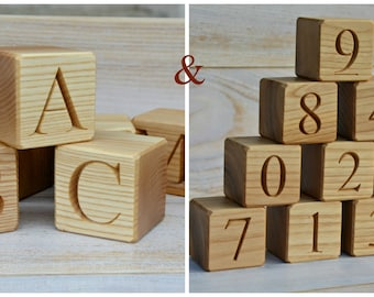 26 Wood English Alphabet Blocks and 10 Numbered Wooden Blocks 0-9, ABC and Number Blocks, Baby Shower Gift Educational Toy