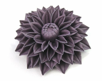 Leather flowers, 3rd leather anniversary for her, dahlia flower, leather flower brooch, leather jewellery UK shop