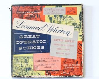 VERDI LA TRAVIATA Plastic 45s Album selection of songs in Italian, red plastic, arts, music, crafts, Italian Opera Music, Vintage Recording
