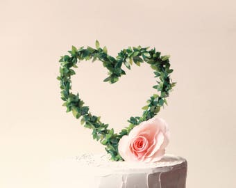 Leaf heart cake topper, Rustic wedding, Woodland cake top, Boxwood wire greenery, Simple cake top, wedding cake topper, Heart cake topper