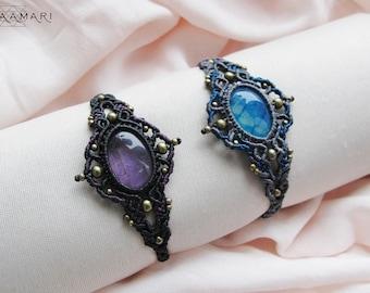 Macrame bracelet with amethyst / agate, micromacrame bracelet, makrame bracelet, gypsy bracelet,  pixie tribal bracelet, elven bracelet