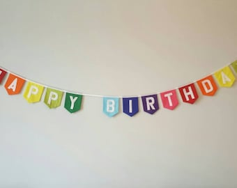 HAPPY BIRTHDAY rainbow fabric bunting banner. Can be personalised with a name. Perfect touch to a special birthday.