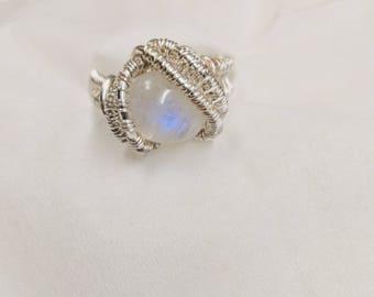 Silver moonstone ring.