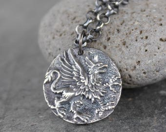 Griffin Coin Necklace - Ancient Greek style coin charm, sterling silver rolo chain- Strength, Courage - Magic + Mythology- free shipping USA