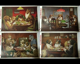 Rare - 4 original c. 1900s lithographs by C M Coolidge - DOGS PLAYING POKER Cards - Brown & Bigelow Cigar Adverts