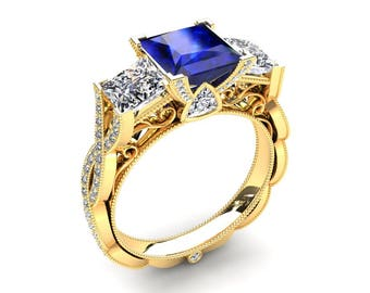 Blue Sapphire Ring 1.35 Carat Princess Cut Blue Sapphire And Moissanite Three Stone Ring In 14k or 18k Yellow Gold CF22BUY