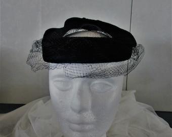 Woman's black halo hat vintage black velvet with veil fascinator