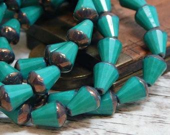 6x8mm - Czech Glass Beads - Picasso Beads - Teardrop Beads - Tear Drop Beads - Drop Beads - Faceted Teardrop - 15pcs (5673)