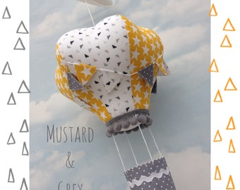 hot air balloon decoration, hanging mobile, hot air balloons, crib mobile, nursery decor, gifts for baby, nursery, grey and mustard decor