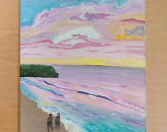 Sunset Beach oil painting