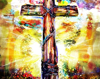 Christian Cross Art Print, Cross Art, Christian painting