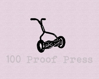 Hand Pushed Lawn Mower  Mounted Rubber Stamp