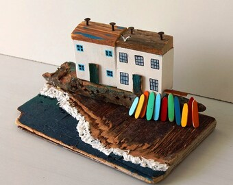 Beach Treasure, Surfboard, Surf, Cornwall surf, Driftwood houses, Driftwood Art, Coastal decor, Driftwood, Recycled Art, Miniatures