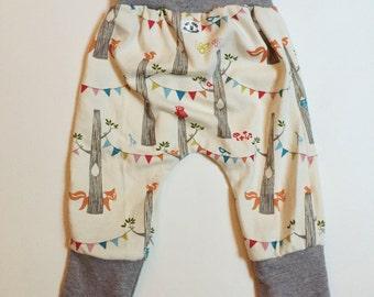 Grow with Me Babywearing Pants - Harem style - woodland party organic