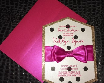 Hot Pink & Polka Dots Hexagon Invitation | Black and White Stripe Sweet 16 invite | Gold Glitter | Modern Invitation | Polka Dots Invitation