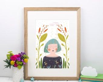 Plant Lady Print - Botanical Art - Gift for her - Gift for gardener - Indoor plant print - Gift for girlfriend - Floral art - Succulent