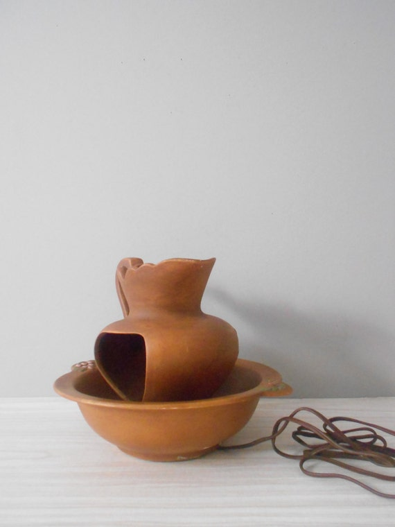 mid century clay pottery country style bowl and pitcher ceramic lamp // pottery
