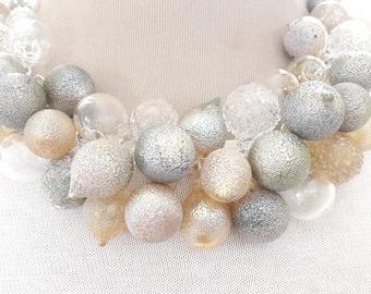 BLOWN GLASS statement necklace-Pyrex tiny bubbles necklace