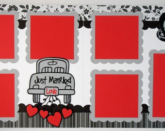 Scrapbook Page Kit Wedding Just Married 2 page Scrapbook Layout 090