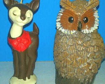 Two Cute Candles, Fawn And Owl, Candles, Vintage, Woodland Creatures, Owl, Deer, Candles.