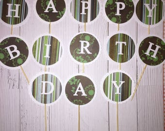 CUP CAKE TOPPERS/ Happy Birthday Theme x 13