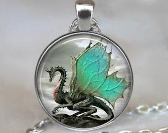 Jade-Winged Dragon necklace, Dragon jewelry dragon jewellery dragon wing pendant fantasy art Jade Dragon key chain key ring key fob
