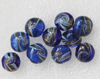 Blue Golden and White Round Lentil Lampwork Glass Beads - Set of 10