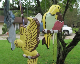 Céramique - oiseaux - carillon - oiseaux de paradis - décoration tropicale - perroquet - perroquets
