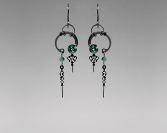 Green Steampunk Earrings, Emerald Swarovski Crystal Earrings, Statement Earrings, Green Crystal Earrings, Bridal Jewelry, Eirene II v14