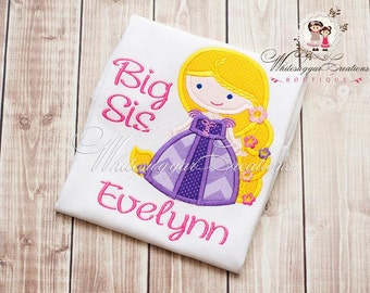 Princess Rapunzel Big Sister Shirt  - Custom Princess Siblings Shirt - New Baby Announcement Monogrammed Outfit