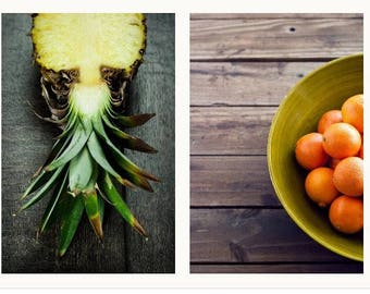 Kitchen photography duo - 2 prints - Pineapple print and oranges print, Food Photography Print -8x12 or 8x10 Fruit Photography and Kitchen W