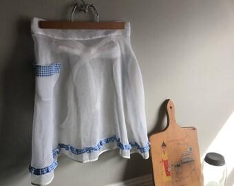 Vintage Apron - White Apron - Gingham Apron - Sheer Apron - Half Apron - Apron with Pocket