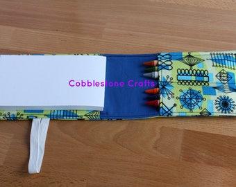 Crayon Notepad Holder Small - Geo w/ Blue- Toddler Coloring, Kids Art Supplies, Crayon Holder, Crayon Notebook, Stocking Stuffer