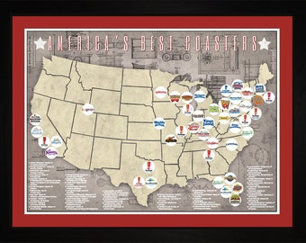 Americas Top Roller Coasters Theme Park Location Map | Print Gift Wall Art TCOAS1824