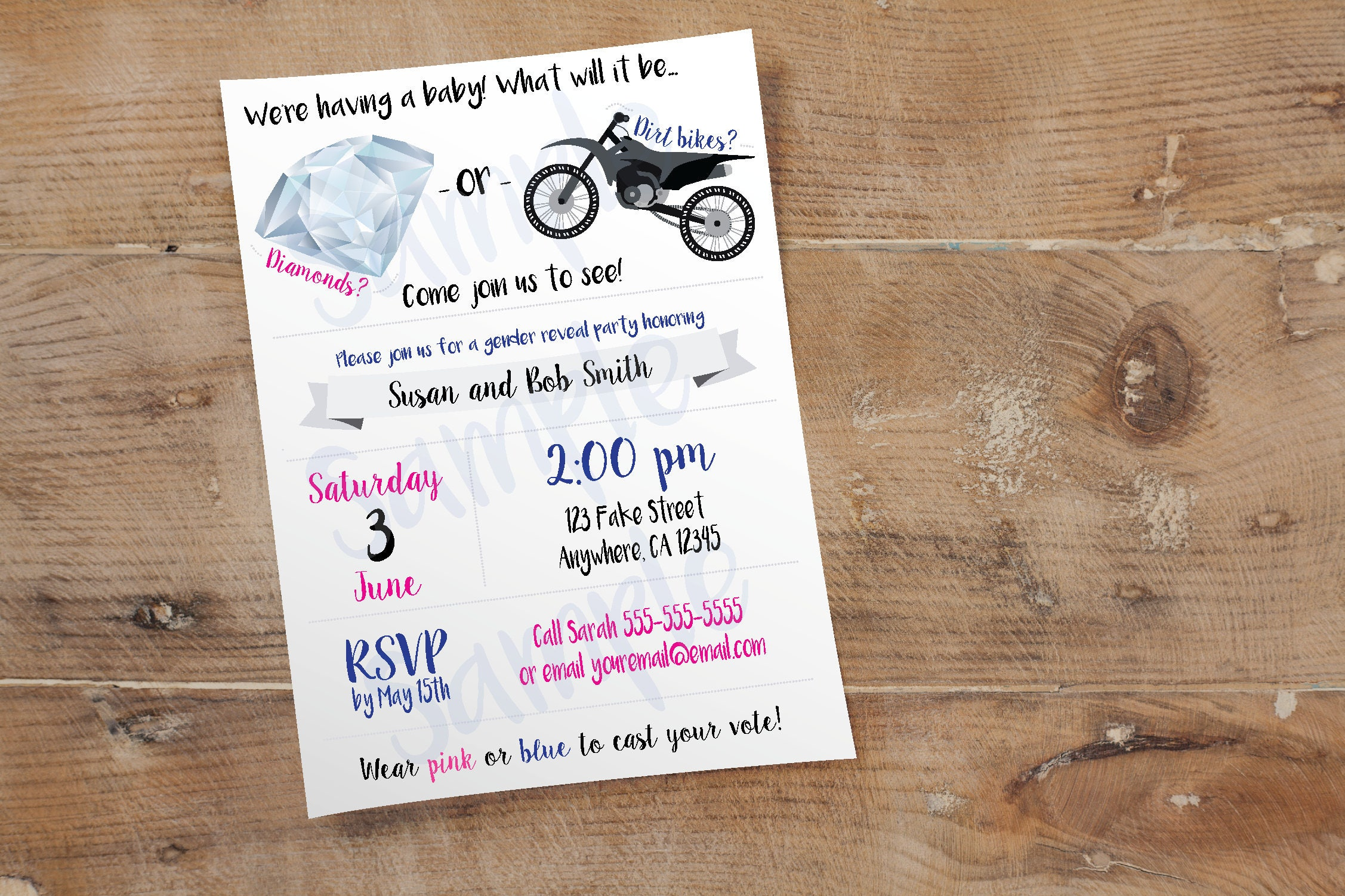 Diamonds or Dirt Bikes Invite // Custom Gender Reveal Party