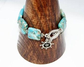 Turquoise Bracelet Boho Jewelry Nautical Turquoise bracelet statement bracelet Gemstone bracelet