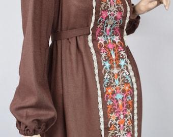 Vintage 1960's Rag Dolls of San Francisco Embroidered FLoWeR HiPPiE BoHo WooDsTocK Prairie Maxi Dress Size M