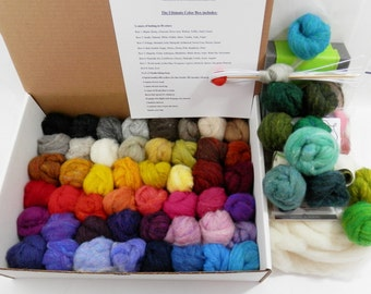 Needle felting complete kit felting foam, core wool, felting needles, Ultimate Color Box with 58 batting shades, Wooly Bun roving assortment