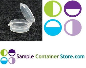100 - 1/9 ounce Lacons Sample Container Round Hinged-Lid Plastic Medical Container (Autoclavable)