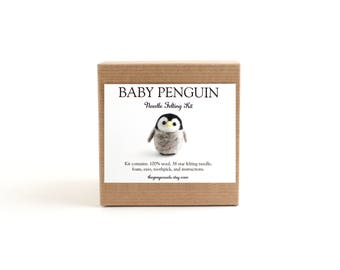 DIY Kit - Baby Penguin Needle Felting Kit - Needle Felted Animal Kit