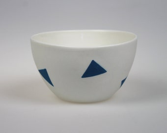 Geo Bowl - White Porcelain with Blue Triangles
