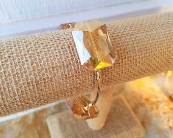 Large Champagne Crystal Bangle, glass crystal, neutral bangle, stack stone bangles, champagne crystals