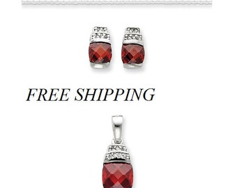 Sterling Silver Red and Clear Cz Pendant and Earring Set with Silver Chain