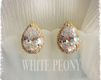 "Gold 1920s Art Deco Gatsby Inspired Bridal Crystal Tear Drop Earrings-Vintage Wedding Pear Cubic Zirconia Zircon Studs Earrings-""CATE gold"""