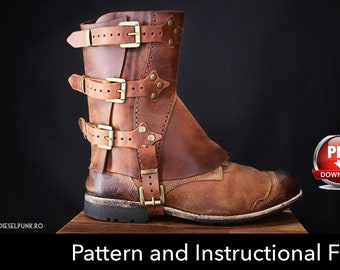 Gaiters Pattern - Cosplay DIY -Spats Pattern - Half Chaps Pattern - Gaiters Template - Half Chaps Template -  Leather Template